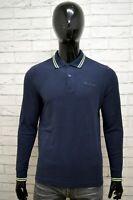 Polo Uomo LOTTO Taglia L(S) Maglia Manica Lunga Maglietta Cotone Shirt Blu Man