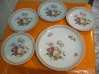 Vintage Set Servito Vassoio + 4 Piatti Ceramica Schumann Dec.Fiori,Foglie