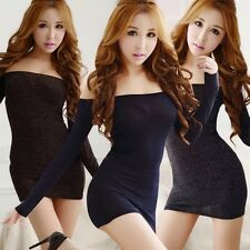 Womens Bodycon long sleeve One Shoulder Dress Ladies Party Evening nigh club