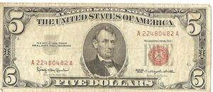 1963 $5 U.S. note A22480482A