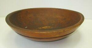 """Antique Wood Bowl Out Of Round Large Primitive Dough Fruit Vintage w/ Rims 15"""""""