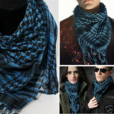 Blue/Black Plaid Pattern Shemagh Keffiyeh Military Light Scarf Shawl Kafiya Wrap