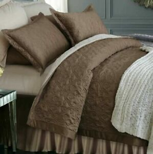 ADREAM Faux Silk/Cotton Floral Pattern Quilted Bedspread Queen  220x240cm Brown