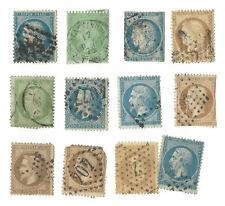 1860's 1870's FRANCE LOT OF 12 CERES AND NAPOLEON STAMPS
