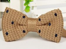 ZZBW501 Men's Beige Navy Polka Dot Bowtie Knit Knitted Pre Tied Bow Tie Woven