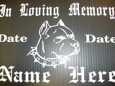 In Loving Memory-Memorial Decal-PIT BULL-Personalized Car Decal Sticker 5x7 F11