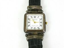 Estate Sterling Silver Ecclissi 31292 Black Leather Band Ladies Watch 37.5g