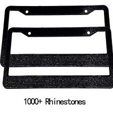 2 Pcs Metal Black Bling License Plate Frames for  Car Auto Cover+Caps