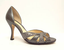 COLE HAAN Size 5 Gray Pewter Open Toe Heels Pumps Shoes