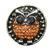 Noosa Style Chunks Snap Button Charms Chunk Charm Snaps Orange Crystal Owl 18mm