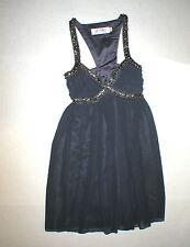 New Womens 6 NWT Lipsy London Dress Dark Gray Steel Beads Iron Queen Short Flowy