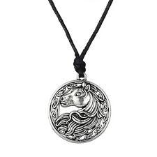 Irish Knot Amulet Animal Jewelry Pewter Men Pendant Rope Chain Horse Necklace