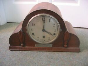 Art Deco Chiming Mantle Clock - 20 Years Cannock Chase Mines Rescue Brigade 1935