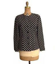 BERGDORF GOODMAN Black & Off white Polka Dot Silk Top/ Jacket