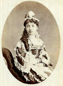 Victorian CDV Photo Beautiful Woman Long Hair Costume Kevis Petworth Sussex