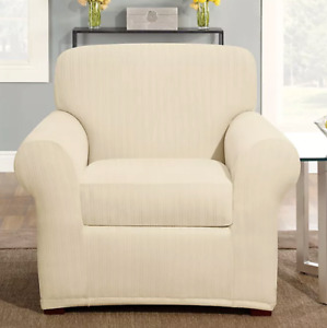 Sure fit pinstripe chair slipcover 2pc washable cream ivory washable box cushion