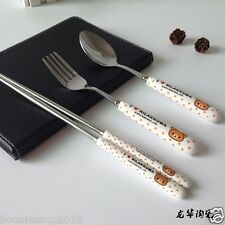 San-X Rilakkuma 3 piece Ceramic Stainless Steel Dinner Set Fork Scoop Chopsticks