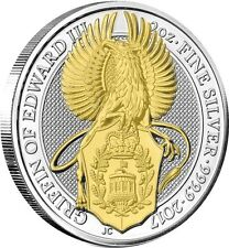 2017 Great Britain 2 oz Silver Queen's Beast Griffin Coin  24k Gold Gilded
