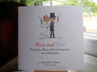 Modern Handmade Personalised Wedding Thank You Card Parents Bridesmaid Bestman