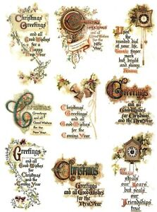 Rice Paper for Decoupage Scrapbook Craft Christmas Greetings 639
