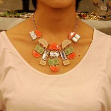 Collar Art Deco Geométrico Coral Verde Beis Moderno Original Noche KS 2