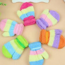 1 Pair Winter Warm Baby Kids Gloves Winter Hanging Neck Mittens Knitting Gloves
