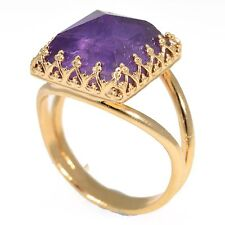 Amazing NATURAL AMETHYST GEMSTONE RING 24k Gold Plated SZ 8 Women Jewelry