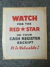 "Vtg ""Watch For The Red Star... It's Valuable"" Cardboard Display Advertising Sign"