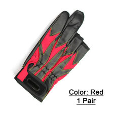 1pair Waterproof 3 Low Cut Finger Anti-slip Leather Fishing Gloves Outdoor Tool Red