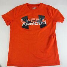 Boys Orange Under Armour Heat Gear T-Shirt Tee M Short Sleeve