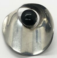 Vintage Sterling Silver Brooch Pin 925 Modernist Onyx Mexico Taxco