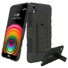 For LG X Power / LG K6P Holster Clip Case Kickstand Hybrid Phone Cover Black