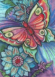STAINED GLASS BUTTERFLY - COUNTED CROSS STITCH CHART
