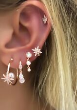 Star Pearl Hoop Earrings 925 Solid Silver Cubic Zirconia Gemstone 14K Rose Gold