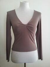 George Gross size 8 taupe rayon & polyester long sleeve top with v-neck