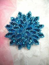 "Turquoise Sequin Applique Floral Beaded Iron on Patch Crafts DIY 3"" (XR364)"