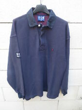 Polo SERGE BLANCO Quinze 15 rugby shirt bleu marine manches longues M