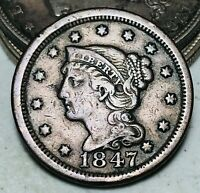 1847 Large Cent Matron Braided Hair 1C Higher Grade Choice US Copper Coin CC6680