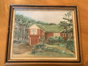 "Vintage Margaret Bloom Goodrow House Acrylic Painting 1961 Wood Frame 10"" X 12"""