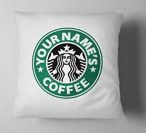 Personalised Starbucks Inspired Themed Retro Name Cushion Cover Case & Insert