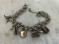 Vintage Double Link Signed Elco Sterling Charm Bracelet w 5 Sterling Charms