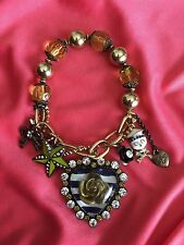 Betsey Johnson Vintage In The Navy Striped Lucite Rose Heart Skull Star Bracelet