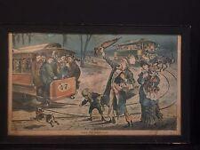 "Antique Political Lithograph Print ""Take the Next Car"" Joseph Keppler c. 1883"