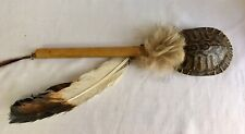 Vintage Native American Ceremonial Turtle Shell Rattle With Feathers & Deer Skin