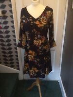 Tenki Uk 16 Navy/multi Floral Polyester Dress Fully Lined