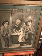 American Artist John George Brown 1881 Etching. Children At Fruit Stand