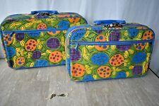 Set of Pair 2 Vintage Penguin Travel Luggage Floral Canvas Suit Case W/ KEYS