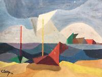 Belle Peinture Sur Carton Geometrique Marine Bord De Mer 1952 Bateau Signé