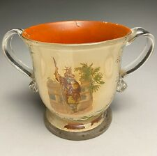 Antique Hand Blown Reverse Print & Painted Glass Two Handle Urn
