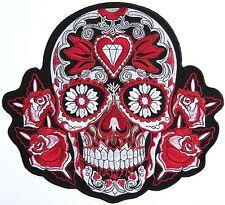 "Rockabilly Day Of The Dead Red Sugar Skull Biker Big Embroider Back Patch 9.5"""